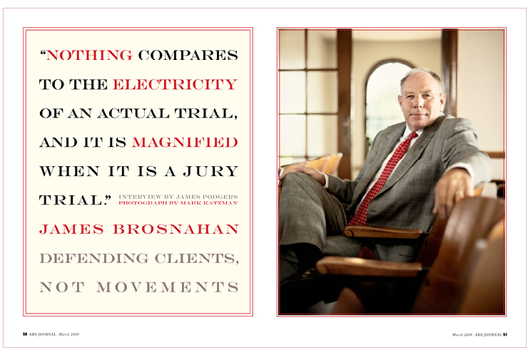 Law magazine spread on attorney Brosnahan