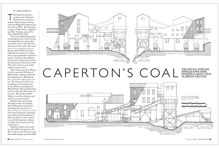 Law magazine spread about the Caperton coal case