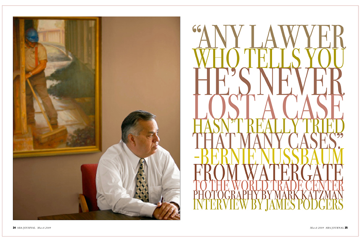 Law magazine spread on attorney Nussbaum