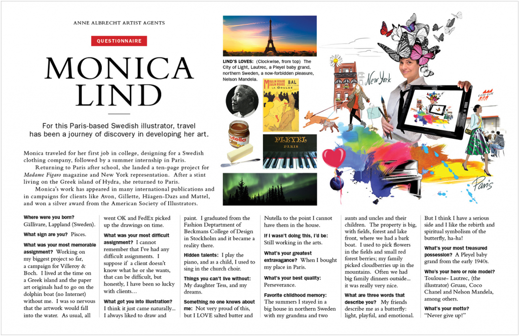 Promotional PDf for illustrator Monica Lind