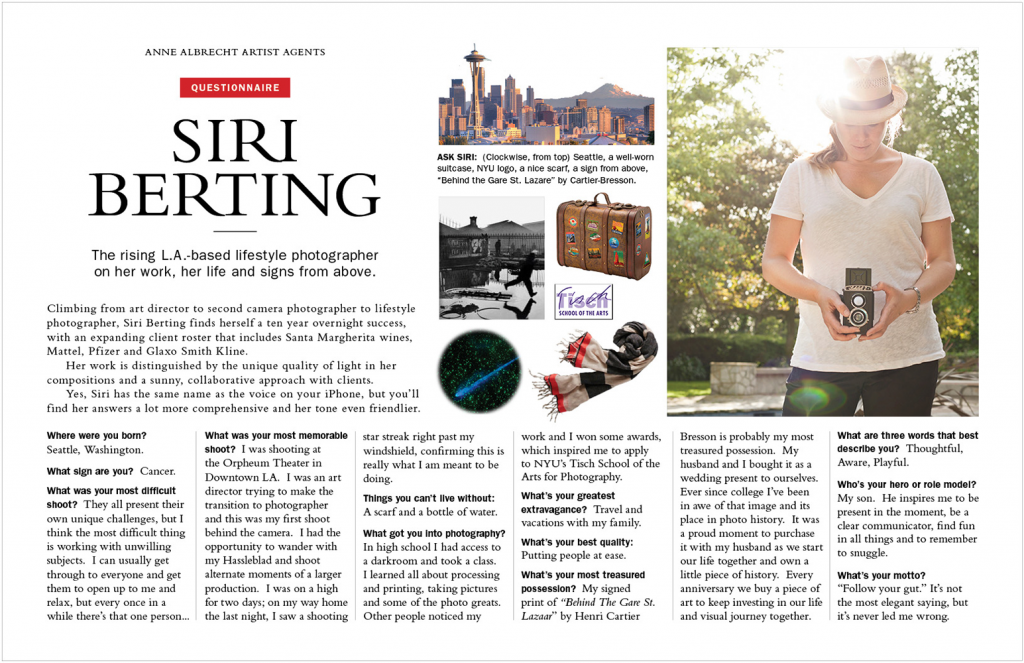 Promotional PDf for Siri Berting Photography