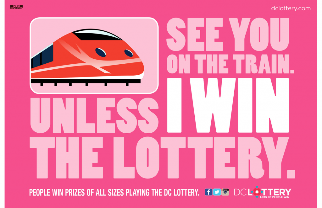 "DC Lottery ""On the Train"" transit poster"