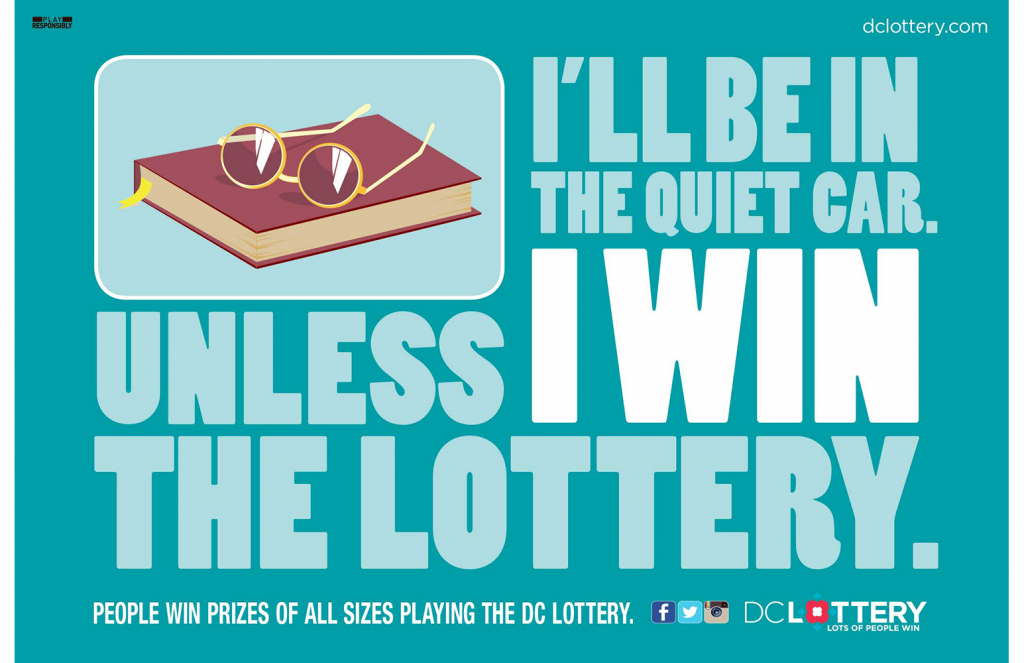 "DC Lottery ""Quiet Car"" transit poster"