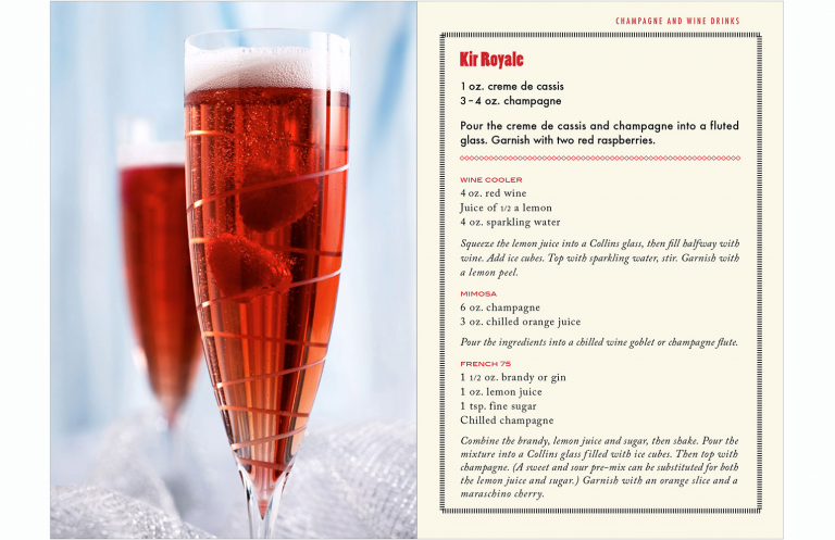 Kir Royale spread in drink booklet for Kevin Smith Photography