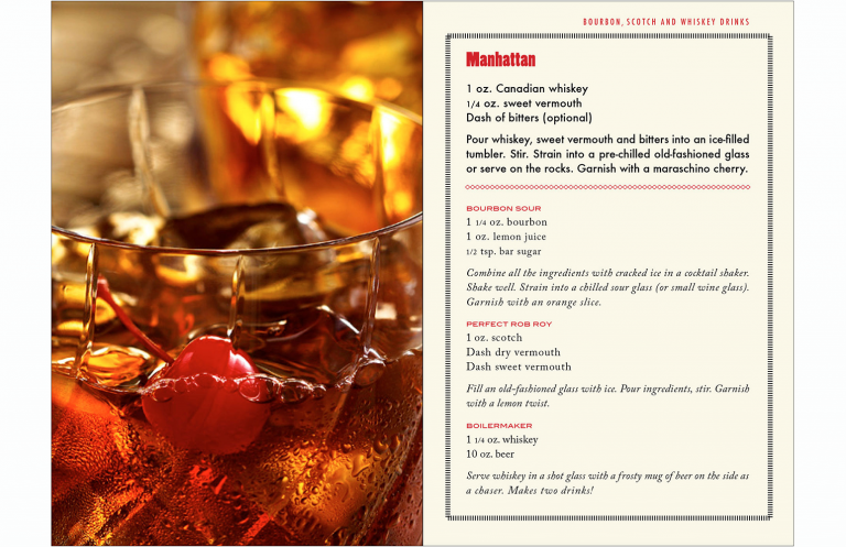 Manhattan spread in drink booklet for Kevin Smith Photography