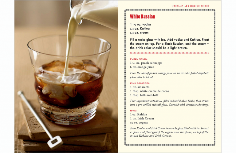 White Russian spread in drink booklet for Kevin Smith Photography