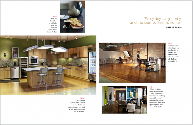 Magazine spread of studio space for Kevin Smith Photography