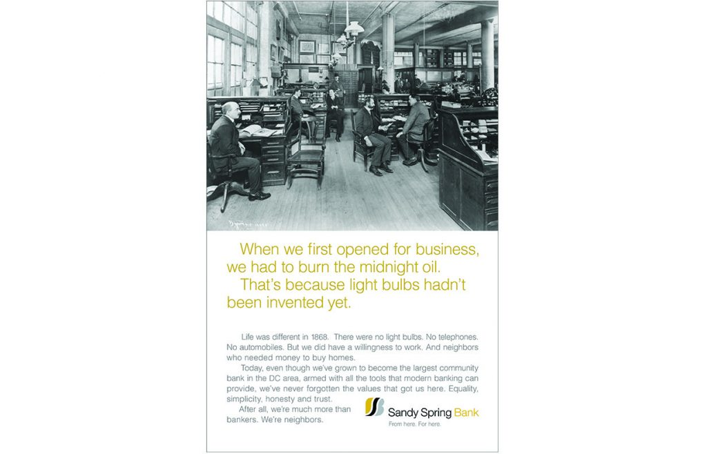 Sandy Spring Bank campaign (1 of 3)