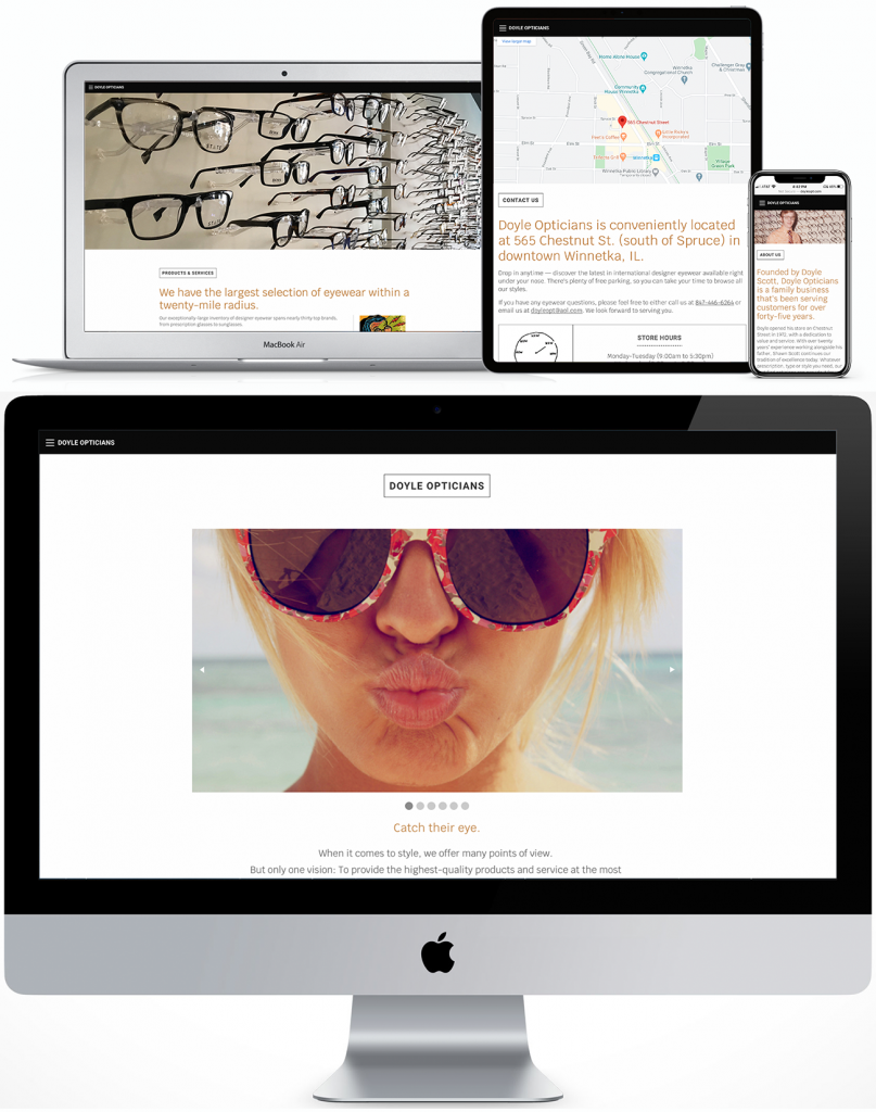 Doyle Opticians responsive site for desktop, laptop, tablet and phone