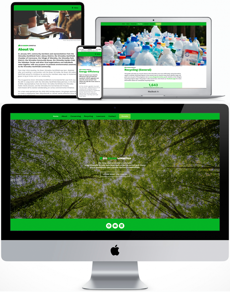 Go Green Winnetka responsive site for desktop, laptop, tablet and phone
