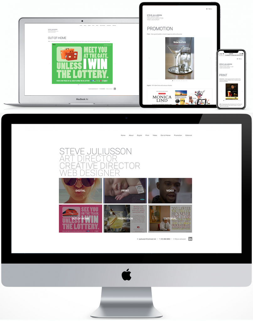 Steve Juliusson responsive site for desktop, laptop, tablet and phone