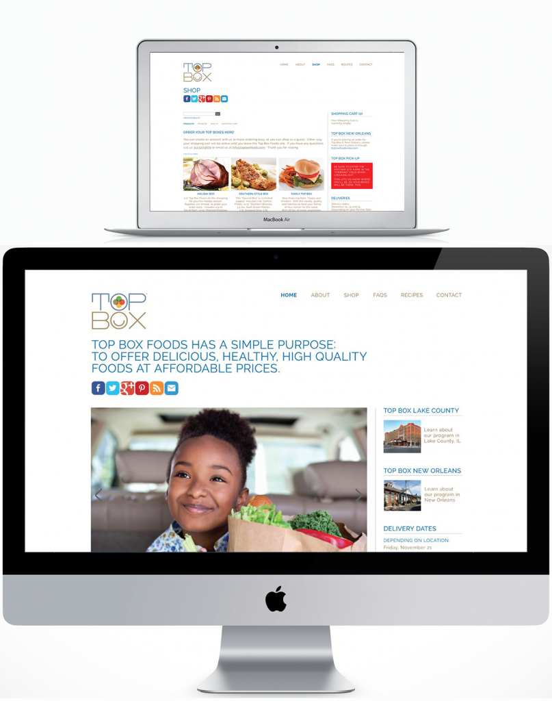 Desktop site design for Top Box Foods